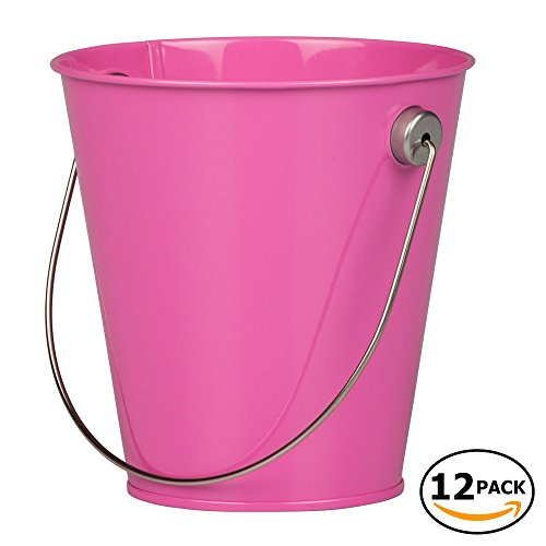 JAM Paper Colorful Metal Pails - Small - Fuchsia Hot Pink - 12 Party Favor -