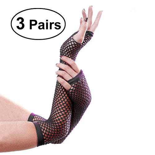 - Tinksky 3 Pair Fishnet Gloves Long Fingerless Fishnet Gloves Nightclub Costume Party Accessories (Black)