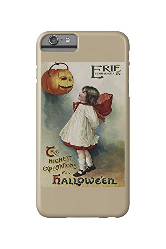 Erie, Pennsylvania - Halloween Greeting - Girl in Red and White - Vintage Artwork (iPhone 6 Plus Cell Phone Case, Slim Barely (Pennsylvania Halloween)