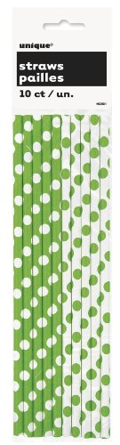 Lime Green Polka Dot Paper Straws, 10ct