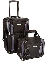 Luggage 2 Piece Set, Black/Gray, One Size