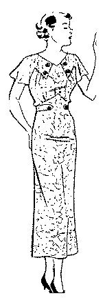 1934-35 Summer Dress with Button Front Yoke ()