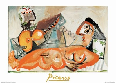 Laying Nude and Musician Art Poster Print by Pablo Picasso, 28x20