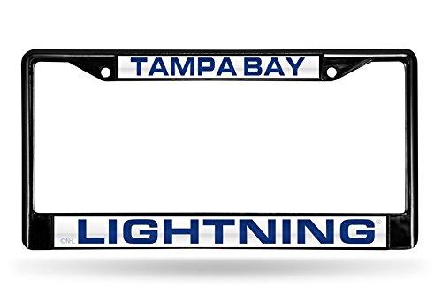 NHL Tampa Bay Lightning Laser Cut Inlaid Standard Chrome License Plate Frame, Black