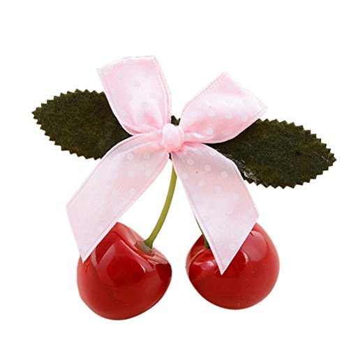 1pcs Lovely Sweet Girls Retro Vintage Pink Bow Cherry Hair Clip Hairpin