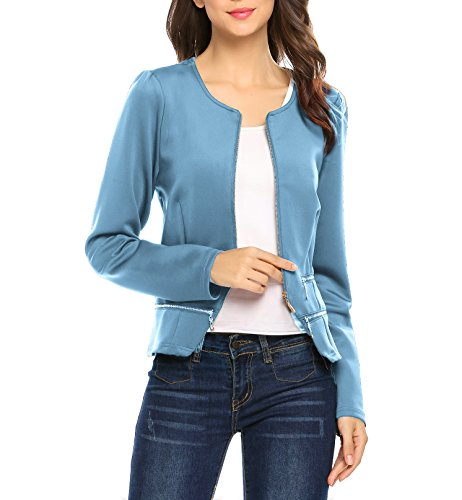 Women's Casual Collarless Cardigan Office Blazer Zipper Work Jacket (L, (Shirt Jacket Blazer)