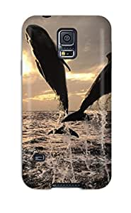 For AWK-3038EuoIQWzO Dolphins Jumping Water Ocean Air Cloudy Sky Acvatic Animal Fish Protective Case Cover Skin/galaxy S5 Case Cover