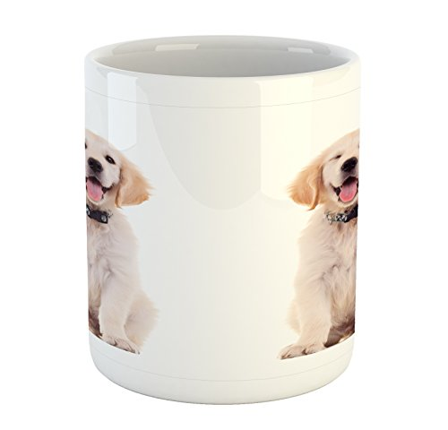 Golden Retriever Mug by Ambesonne, Two Emotional Poses of a Young Panting Domestic Puppy Happy and Playful, Printed Ceramic Coffee Mug Water Tea Drinks Cup, Multicolor