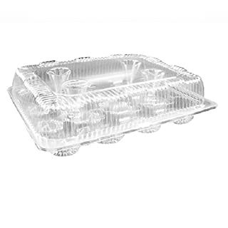 Oasis Supply PJP LBH-9222-12 12-Compartment Cupcake Container with Hinged Lid, Clear