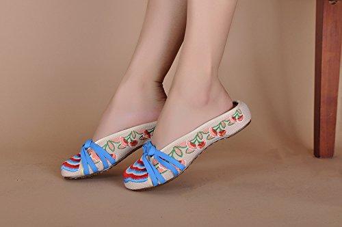 moda sandalias PlanosZapatos Chnuo de flop lenguado femenino cómodo estilo étnico Suave flip bordados beige Zapatos Suela tendón Mujeres Chinos wwqFSZTH
