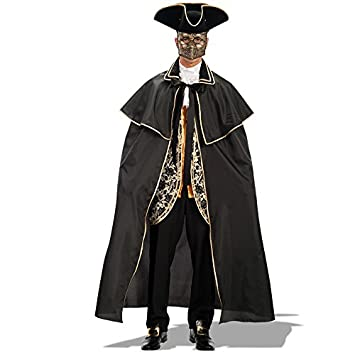 Carnival Toys - Capa veneciana de tafetán, 140 cm, color negro (29013)