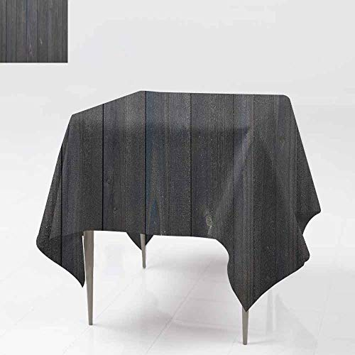 (AndyTours Spillproof Tablecloth,Dark Grey,Wood Fence Texture Image Rough Rustic Weathered Surface Timber Oak Planks,Great for Buffet Table, Parties& More,54x54 Inch Dark Grey Blue)