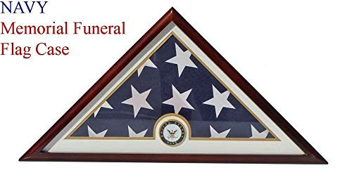 (Navy Flag Display Case Box, 5x9 Burial - Funeral - Veteran Flag Elegant Display)