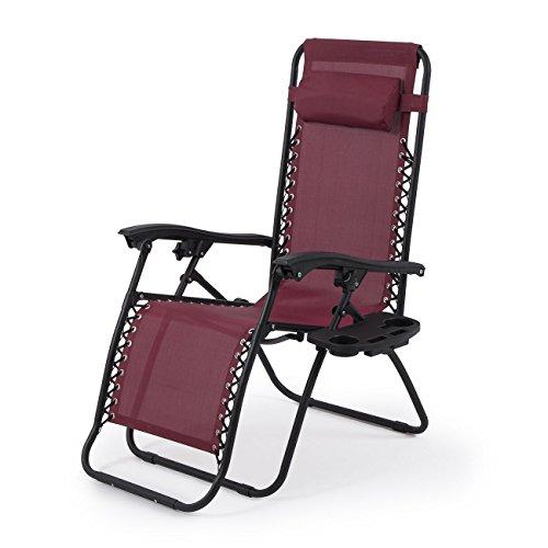 2 Set Burgundy Chair Zero Gravity Folding Lounge Recliner Patio Pool W  Tray   Free E Book