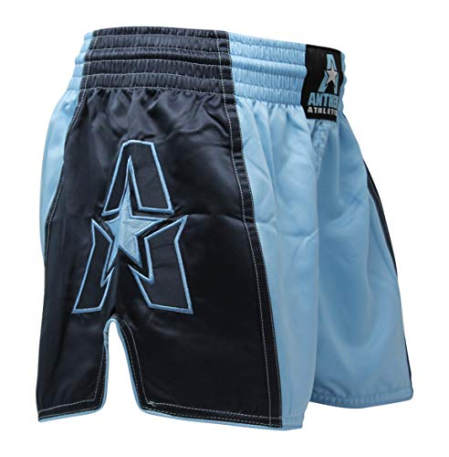 (Anthem Athletics Infinity G2 Muay Thai Shorts - Kickboxing, Thai Boxing - Light Blue & Navy G2 - Large )