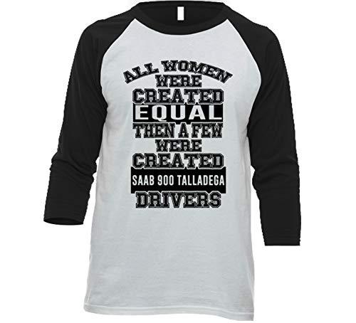 (Women Created Equal Few are Drivers Saab 900 Talladega Car Lover Enthusiast Baseball Raglan Shirt S White/Black)