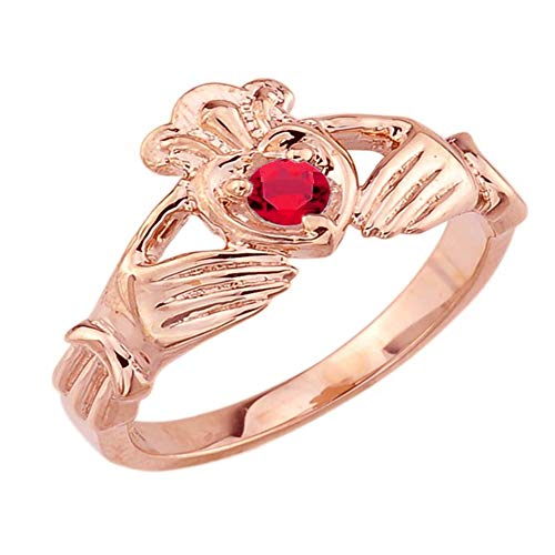 Women's Fine 14k Rose Gold Custom Personalized CZ Heart July Birthstone Claddagh Ring (Size 9) (July Birthstone Claddagh Ring)