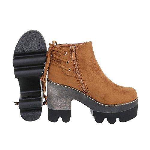 Ital-Design Women's Biker Boots Camel tw01uzE