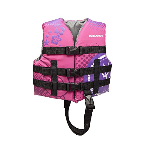 OCEANS7 US Coast Guard Approved, Child Life Jacket, Type III Vest, PFD, Personal Flotation Device, 30 to 50 lbs, Pink (Vest Life Toddler)