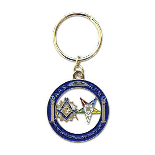 Shining Square & Compass and Order of the Eastern Star Round Blue & Gold Masonic Key Chain - 1 1/2