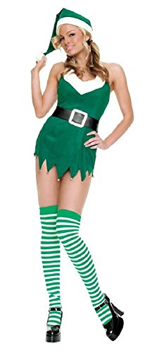 3 Piece Miss Elf Costume (Green, (Leg Avenue Elf Costumes)