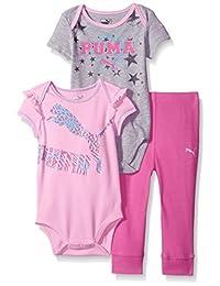 PUMA Baby-Girls Baby 3 Piece Bodysuit Set
