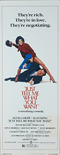 Just Tell Me What You Want (1980) Original Insert Poster (14x36) ALAN KING ALI MACGRAW Directed by SIDNEY LUMET (Want What Just Me You Tell 1980)