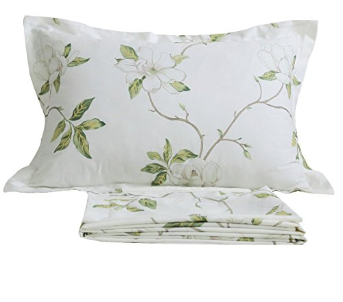 FADFAY Shabby White Floral Bed Sheet Set Twin XL Cotton Sheets Green Leaves 4-Piece Twin Extra Long Size