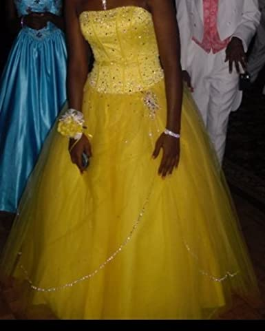 Mori Lee strapless yellow cinderella prom dress 7/8 at Amazon Womens Clothing store: