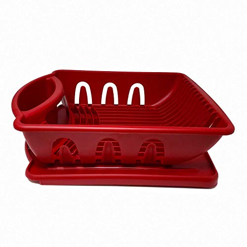 Price comparison product image Heavy Duty Sturdy Hard Plastic Sink Set With Dish Rack With Drainer & Drainboard, Easy to Clean With Snap Lock Tab Cup Holders for Home Kitchen Sink Organizers-S, M, L-Made in USA(Red Medium Dish Rack)
