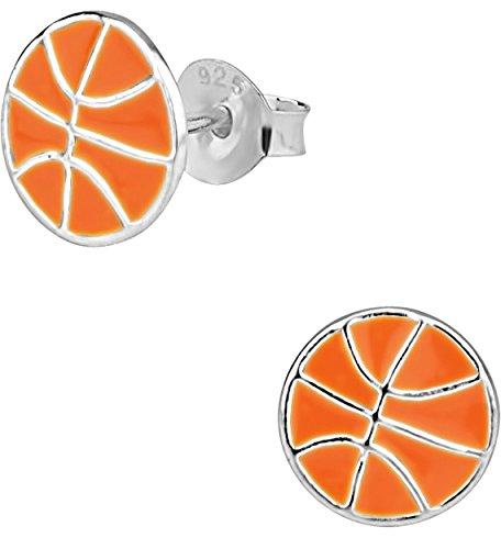 Hypoallergenic Sterling Silver Basketball Stud Earrings for Kids (Nickel Free)]()