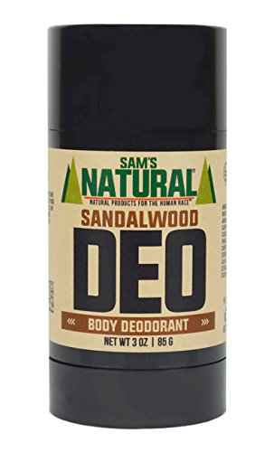 Eco Friendly Deodorant - Sam's Natural Deodorant Stick - Sandalwood, Aluminum Free, Vegan, Cruelty Free, 3 oz