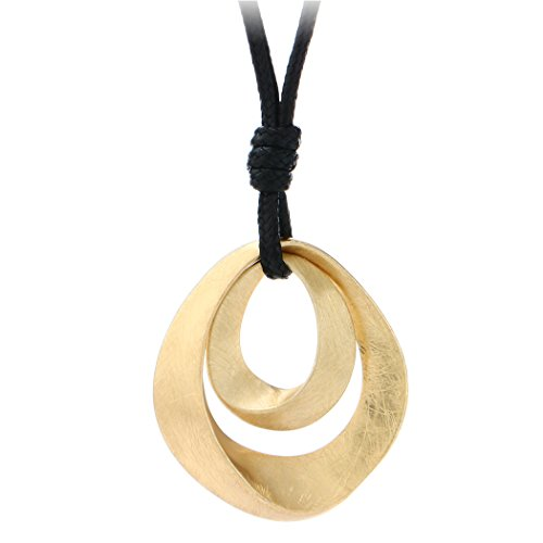 (Gold and Silver Plated Handmade Drawing Brushed Double Hollow Oval Pendant Necklace)