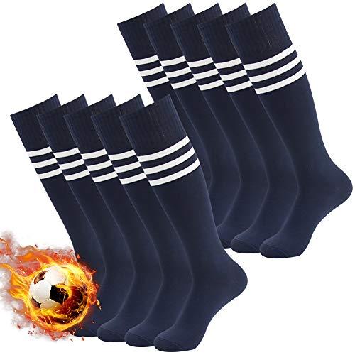 3street Navy Soccer Socks 10 Pack, Unisex Premier Sport Warm Over-Knee Quick Wicking Tube Soccer Hockey Socks Navy+White Stripe 10-Pairs,7-13