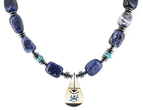 $280Tag Certified Silver Navajo Inlay Natural MOP Lapis Hematite Native American Necklace 25201-1 ()
