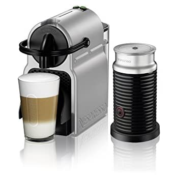 Nespresso Inissia Espresso Machine by DeLonghi with Aeroccino, Silver