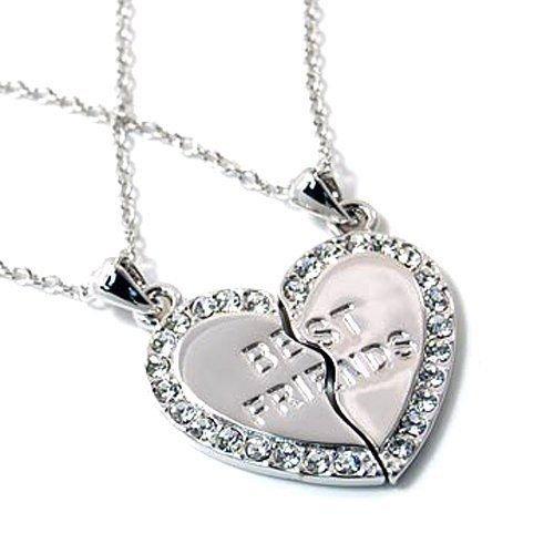 Amazon Com Best Friend Heart Necklace 2 Pendants Necklace Bff