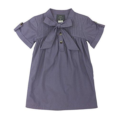 Yoke Pintuck - Kate Quinn Organics Baby Girls Pintuck Bow Dress, 12-18M (Purple Ash)