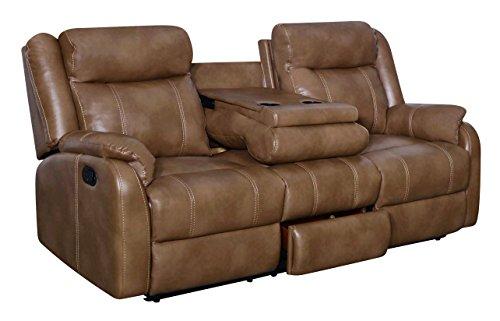 Global Furniture U7303C-RS W/DDT-WALNUT Reclining Sofa with Drop Down Table and Drawer Blanche, Walnut