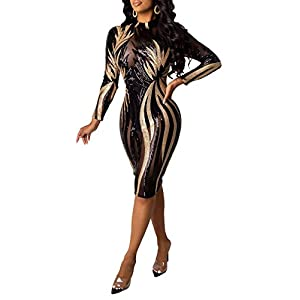 Blansdi Women Sexy Sequin Mesh See Through Dress Long Sleeve Mock Neck Bodycon Midi Party Cocktail Dresses