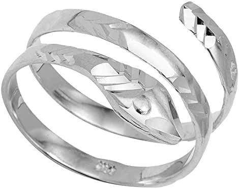 925 Sterling Silver Serpent Wrap Band Snake Coil Ring