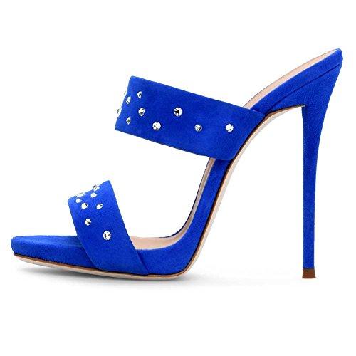 Mujer Puntera Zapatos De Mejorar Sandalias Moda KJJDE Blue Abierta TLJ De Rhinestone Fiesta Baile Alta 3301 Sexy Tacón Alto Zapatos Muller Tacón dn7q7C0gxw