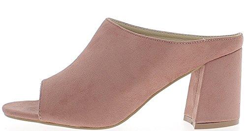 Sabots femmes roses aspect daim à talon épais de 8cm