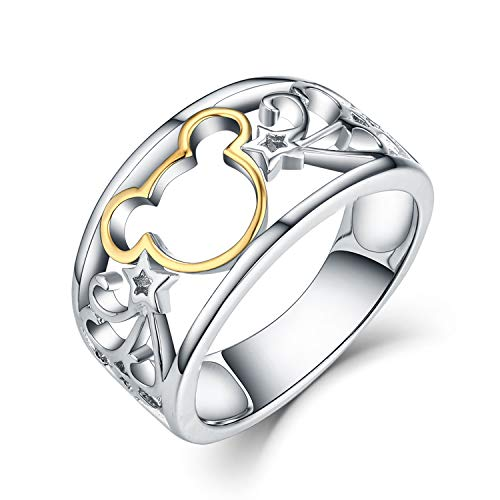 (JO WISDOM 925 Sterling Silver and Yellow Gold Plated Mickey Mouse Ring Size 6)