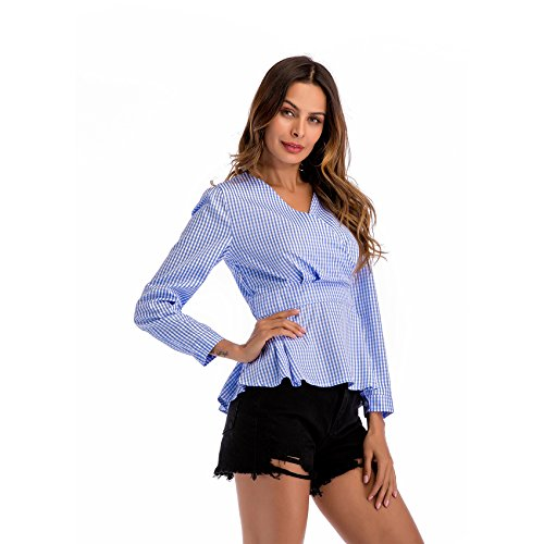 Encolure Manches Longues Vichy Haut Peplum Plaid Ourlet Volant Profonde Chemisier Tartan Basque Blouse en Carreaux Top Chemise Volants Volante Bleu V Shirt Col rpXxXAn