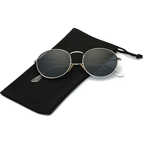 LKEYE Small Unisex Classic Vintage Round Mirror Lens Polarized Sunglasses LK1702 Silver Frame/Gray - Lens Gray Sunglasses