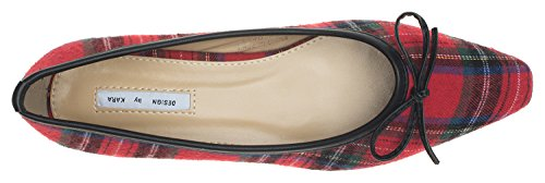 Bow Red AnnaKastle Loafer Ballet With Toe Womens Plaid Flat Pointy TTpAqxH