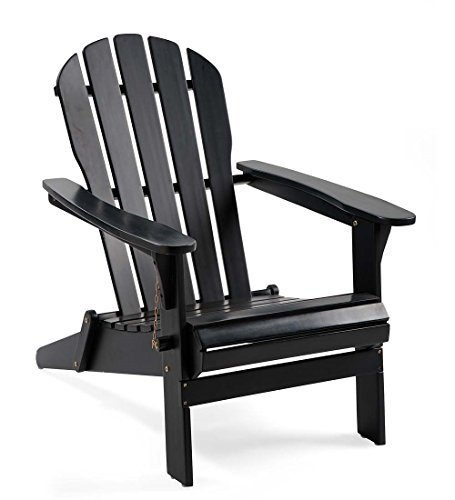Plow & Hearth 62A80-BK Foldable Eucalyptus Adirondack Chair, Black