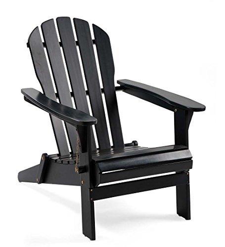 Plow & Hearth 62A80-BK Foldable Eucalyptus Adirondack Chair, Black Review