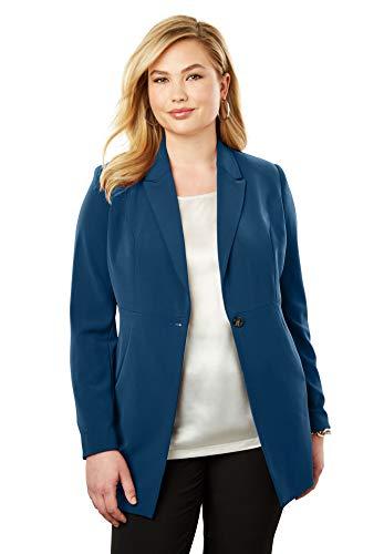Jessica Petite Coat - Jessica London Women's Plus Size Bi-Stretch Blazer - Twilight Teal, 14 W